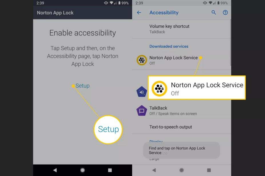 Setup, Norton App Lock Service