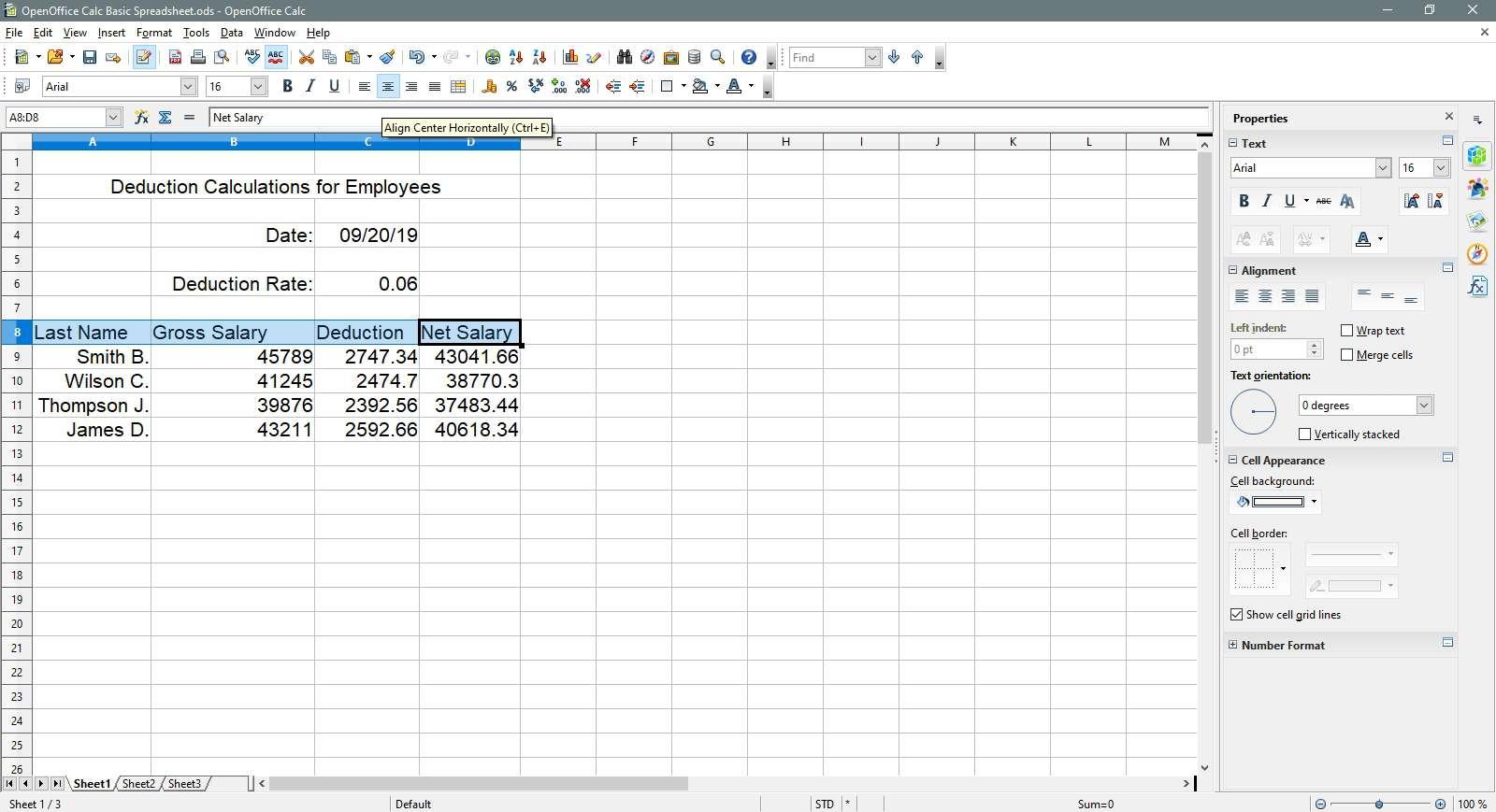 Open Office Calc Basic Spreadsheet Tutorial