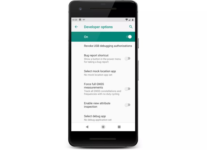 The developer options screen on an Android phone.