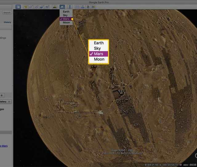 Mars Dropdown Menu Item In Google Earth Pro
