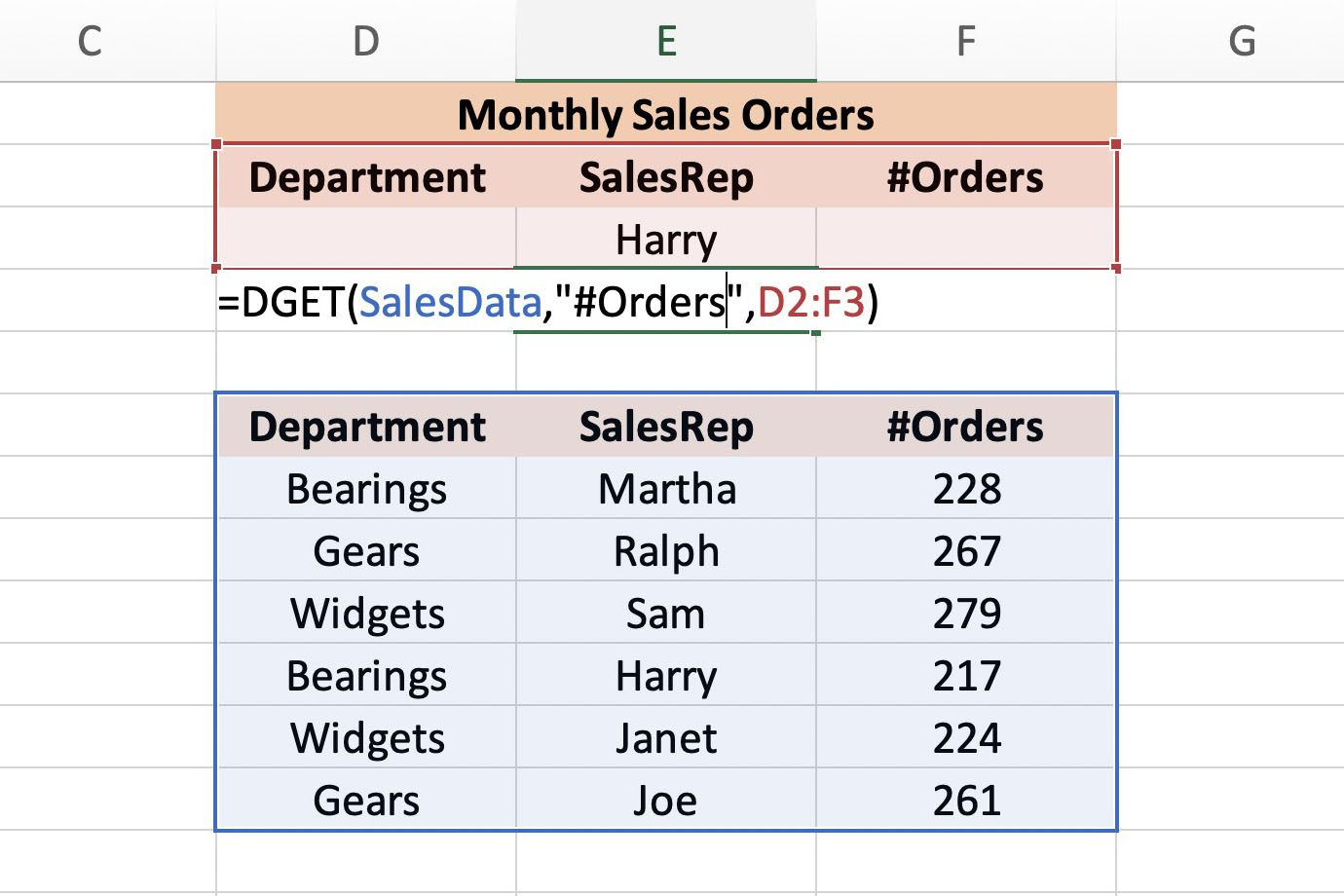 Use Excel S Dget Function To Summarize Large Tables