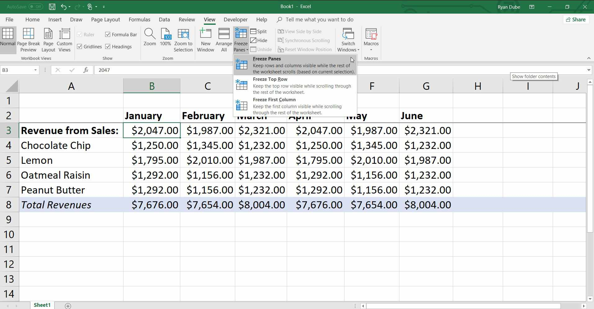 Freeze Or Lock Columns And Rows In Excel