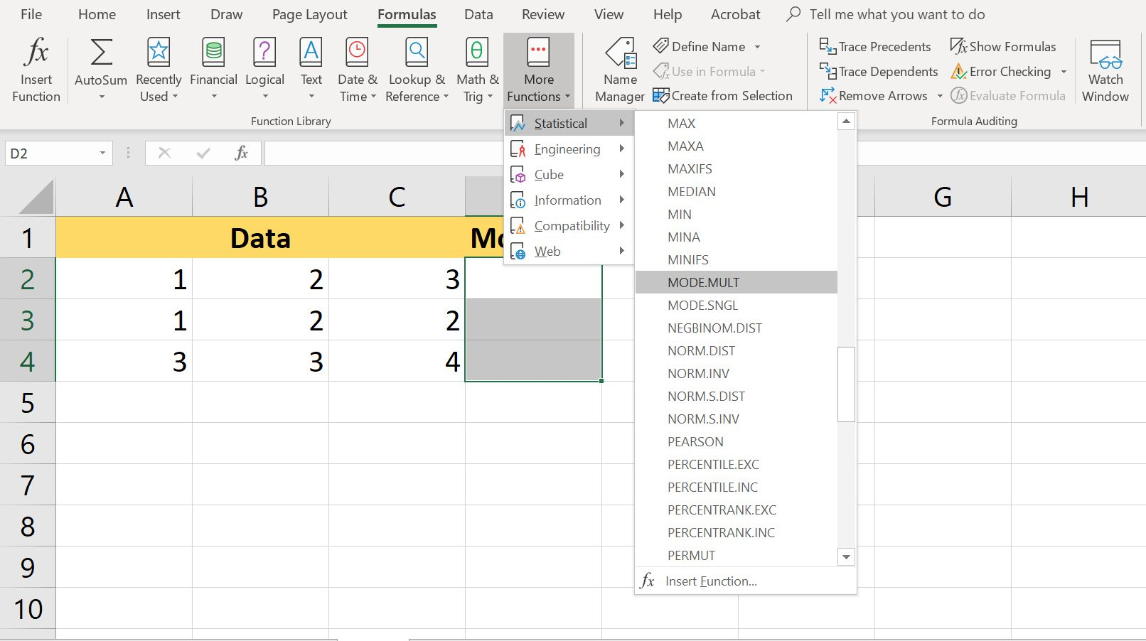 Use Modelt Function In Excel
