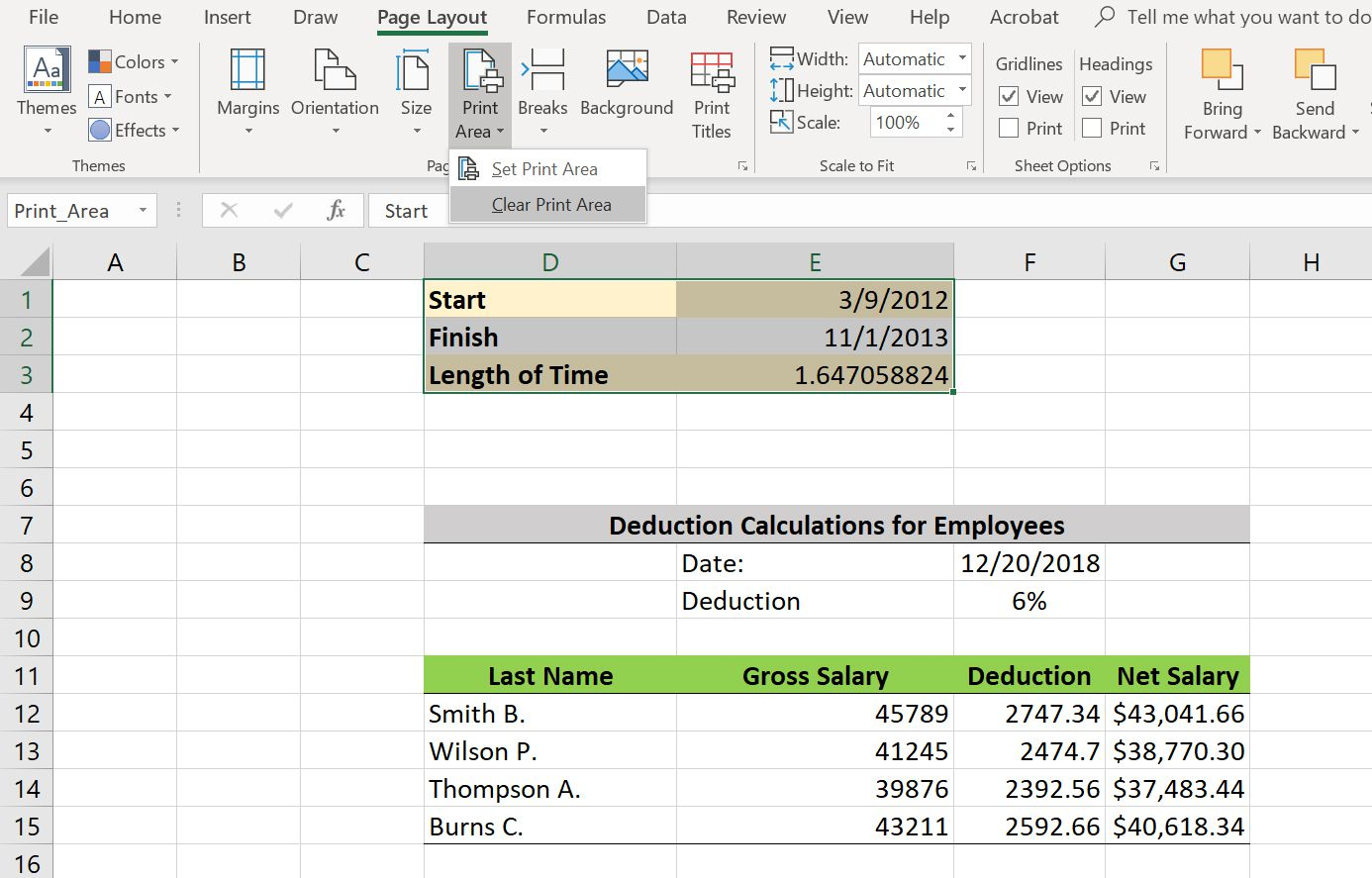 How To Set Print Area In Excel