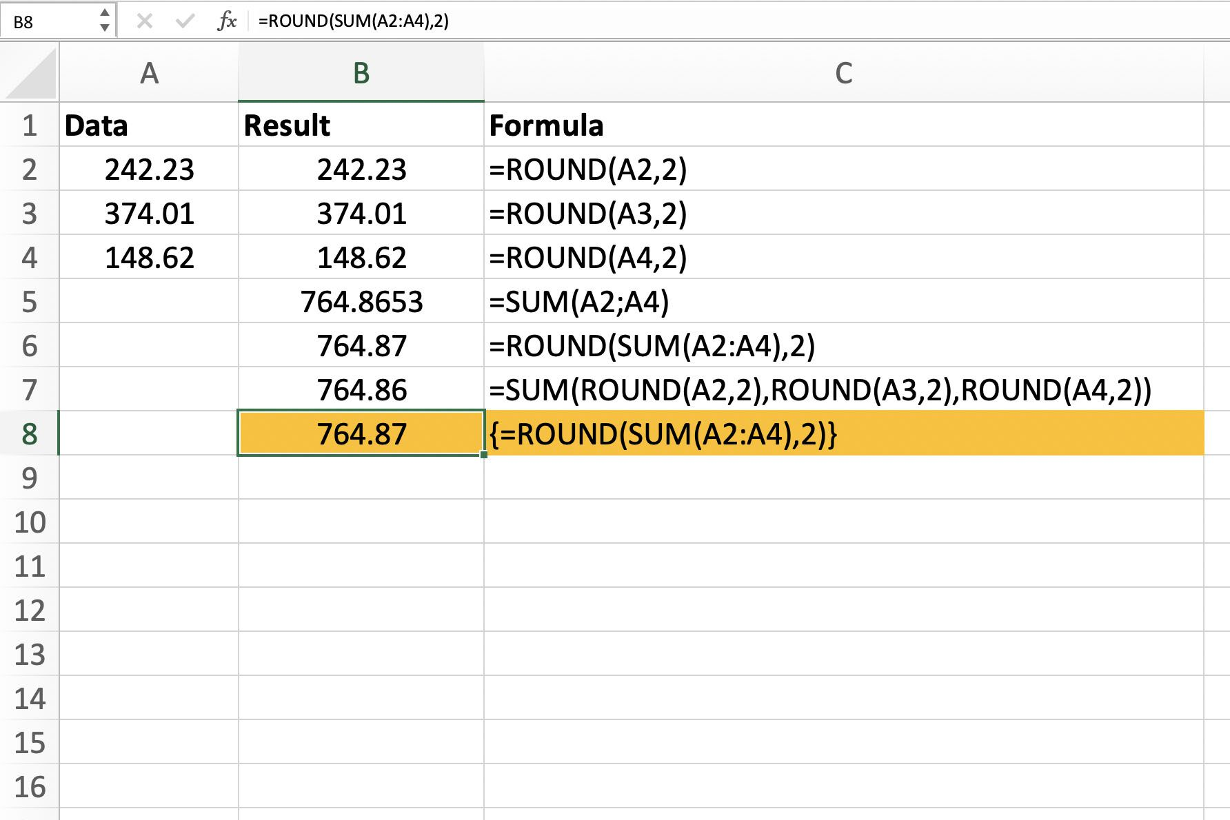 How To Combine The Round And Sum Functions In Excel