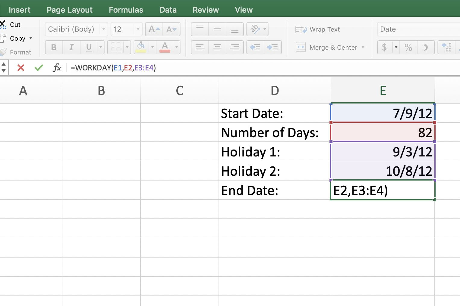 Excel Workday Function Find Project Start And End Dates