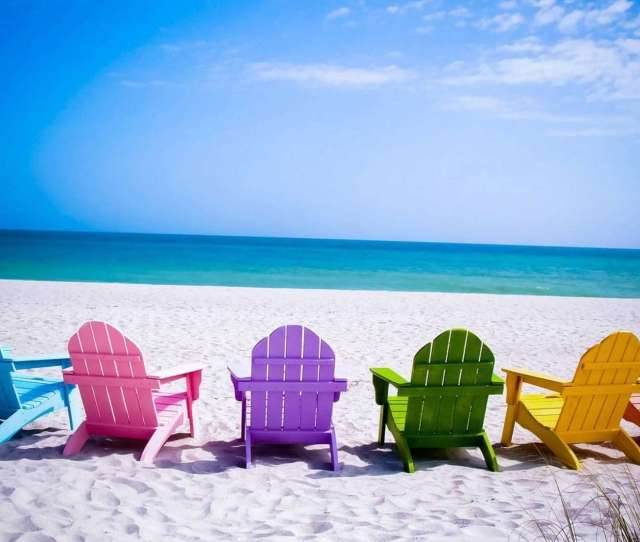 Colorful Chairs On The Beach Wallpaper Fx