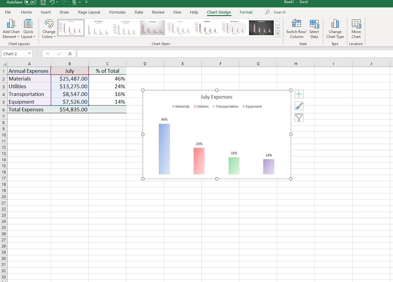 Change Column Colors Show Percent Labels In Excel Column
