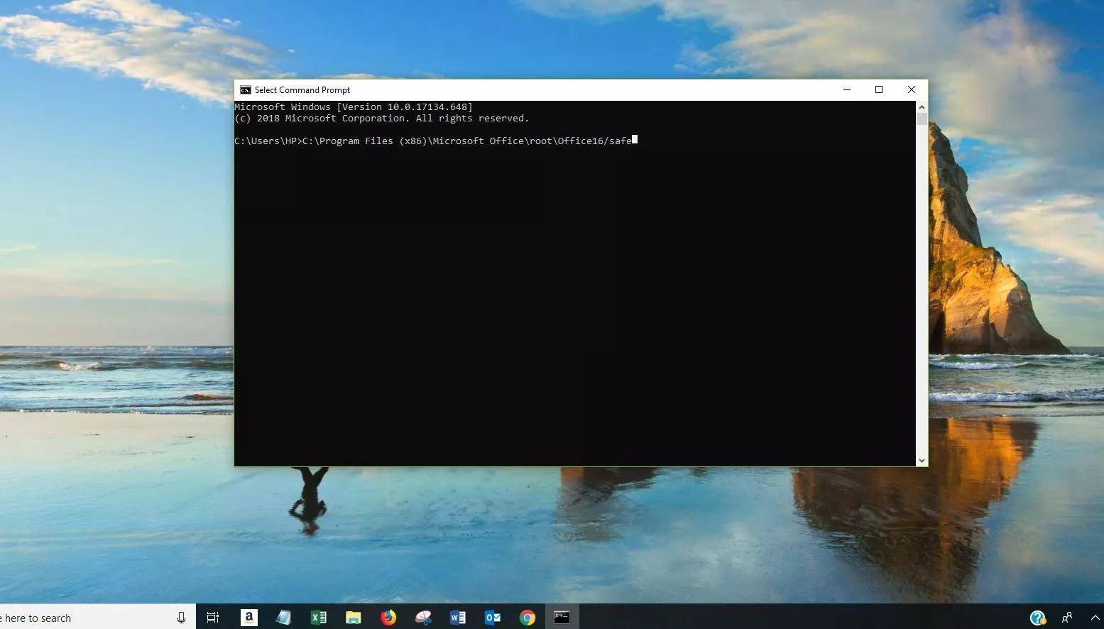 Screenshot of Command Prompt window