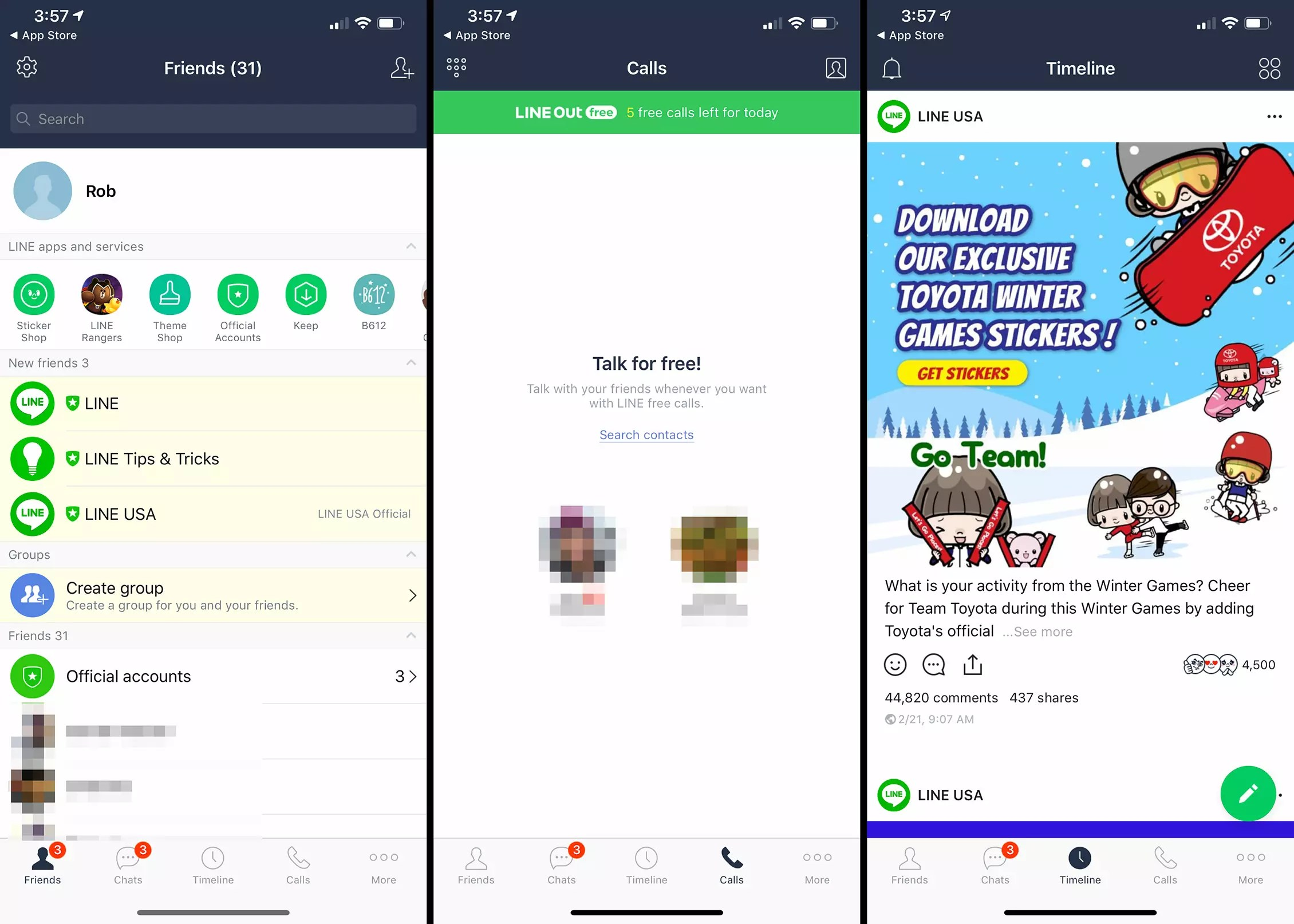 Three iOS screens from LINE app