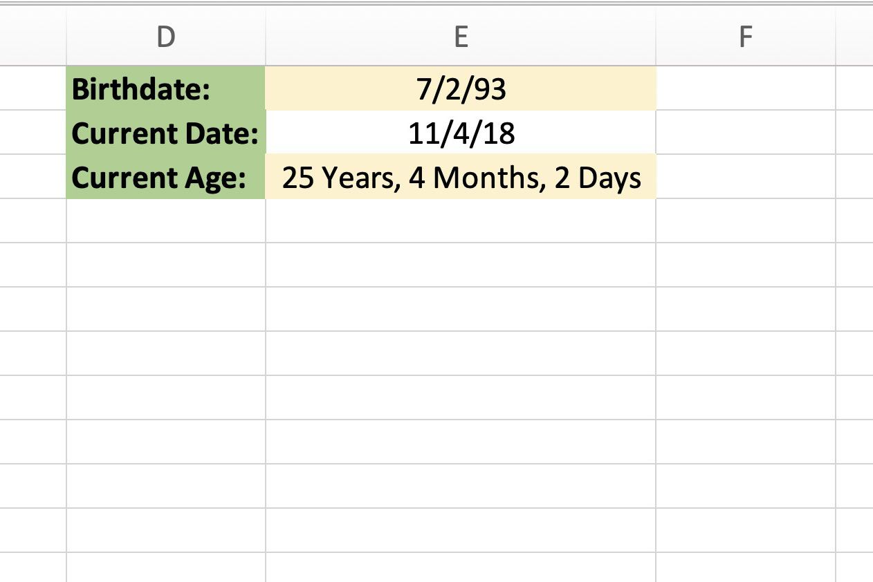 How To Calculate Your Age With Excel S Datedif Function