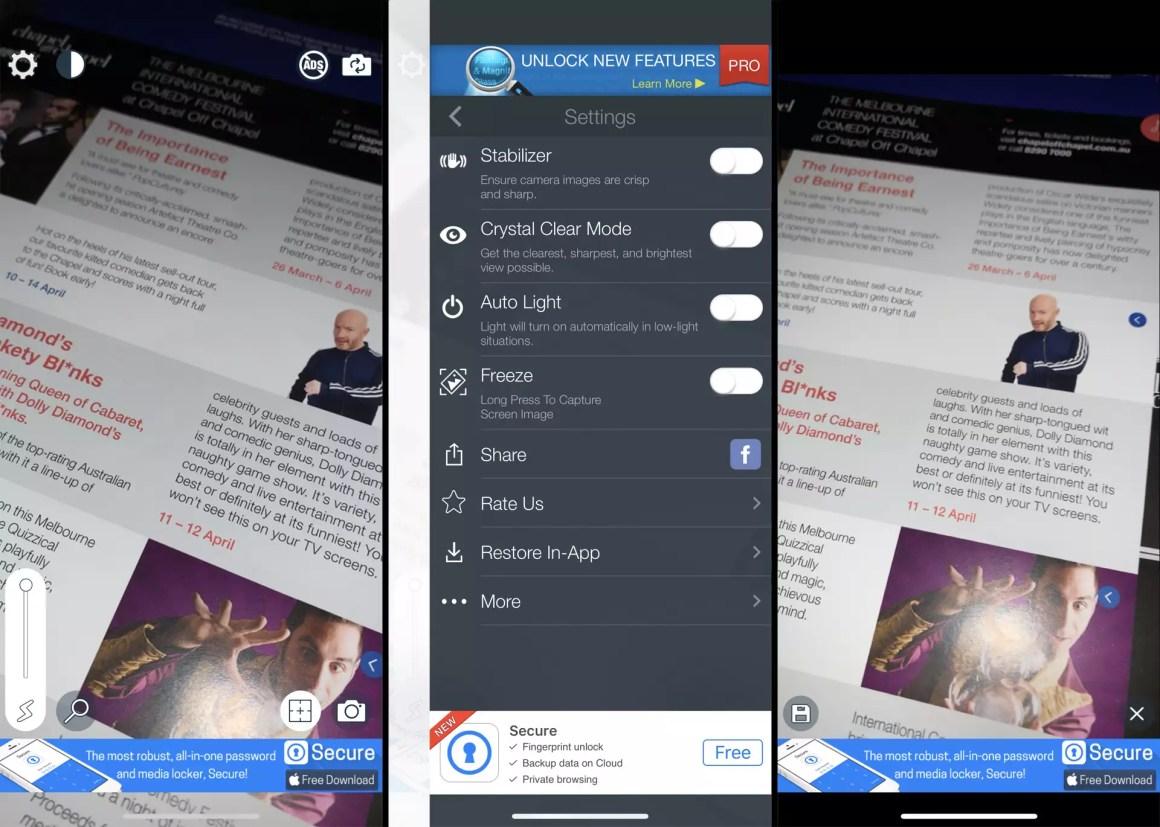 Приложение «Увеличительное стекло + фонарик» на смартфоне iPhone XS.