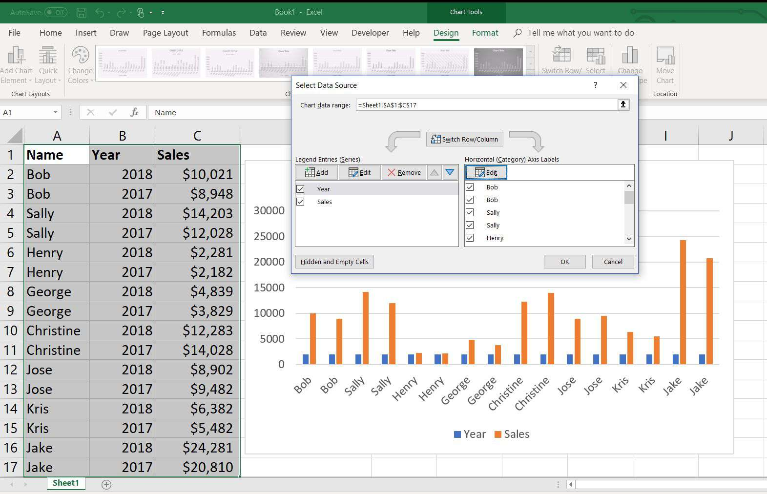 How To Create An 8 Column Chart In Excel