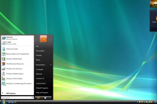 Screenshot of the Windows Vista Start Menu and desktop