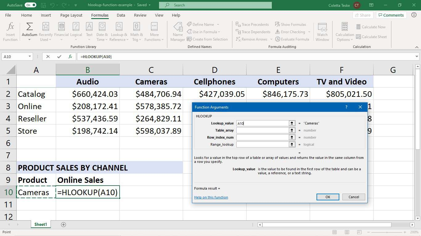 How To Use Excel S Hlookup Function
