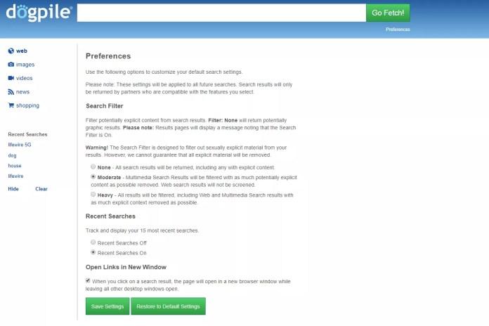 Dogpile search preferences