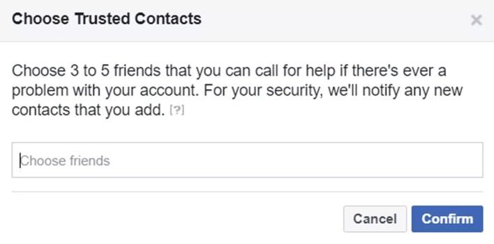 يعرض Facebook شاشة اختيار جهات الاتصال الموثوق بها.