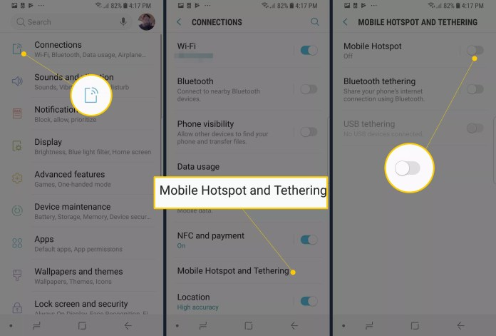 Connections, Mobile Hotspot and Tethering, and Mobile Hotspot toggle on Samsung Android phone