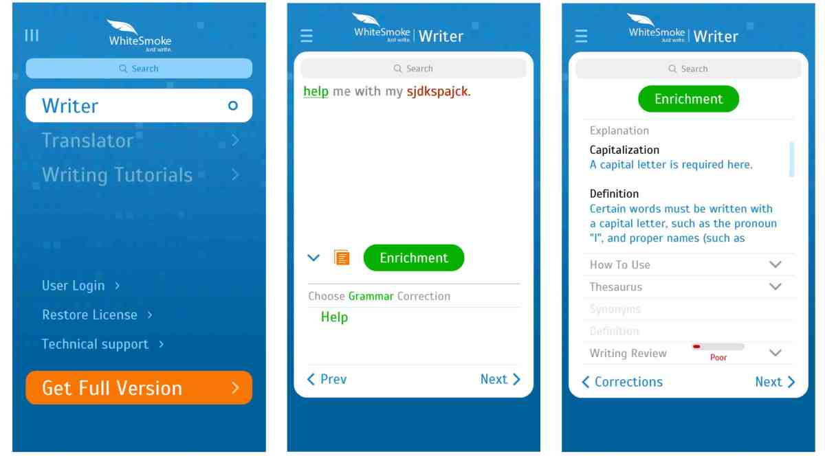 Photo of Whitesmoke app on iPhone