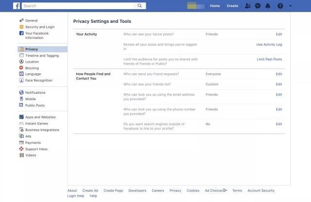 Page Web des paramètres de confidentialité et des outils de Facebook