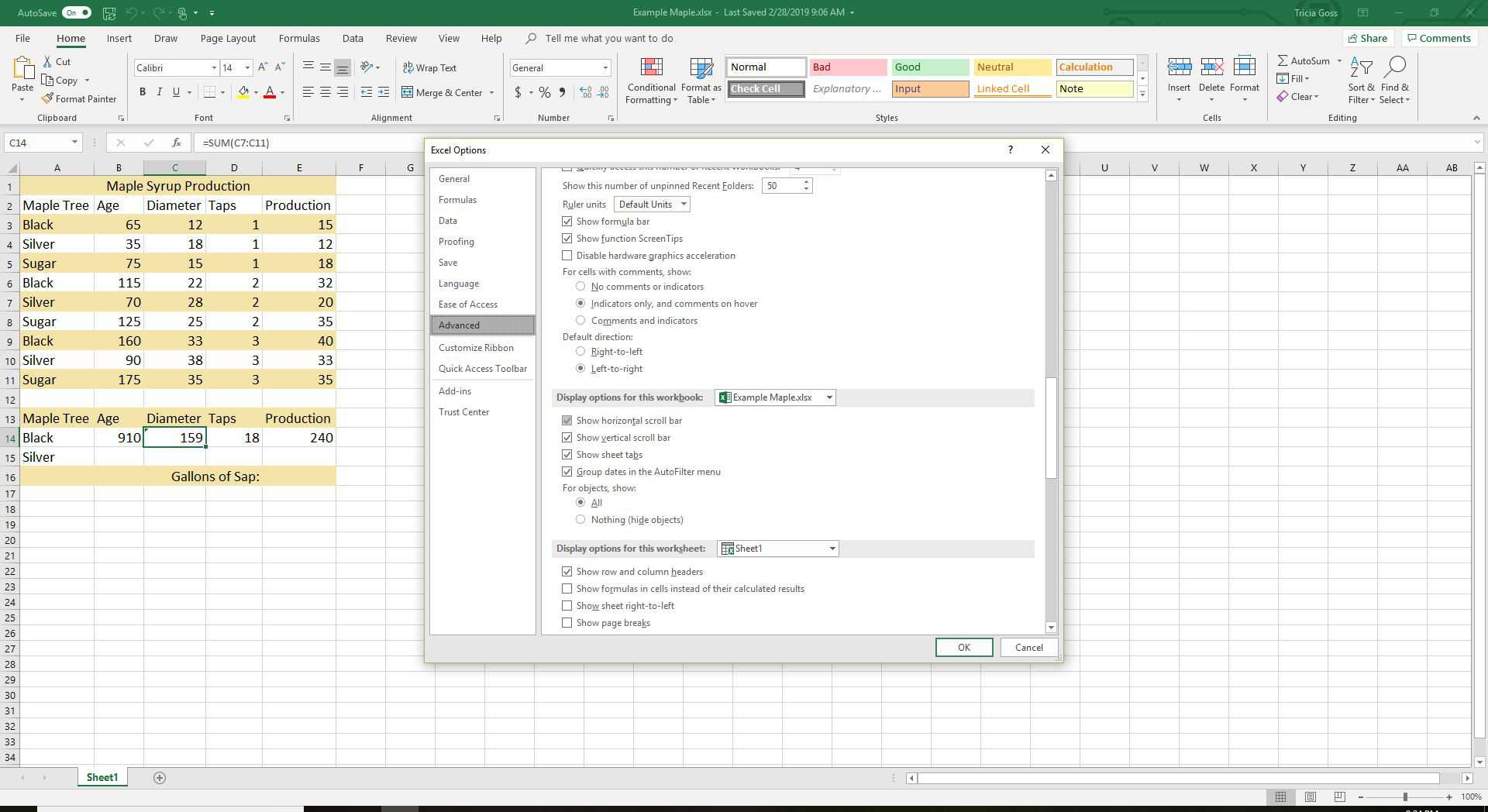 How To Hide Scroll Bars And Reset Slider Range In Excel
