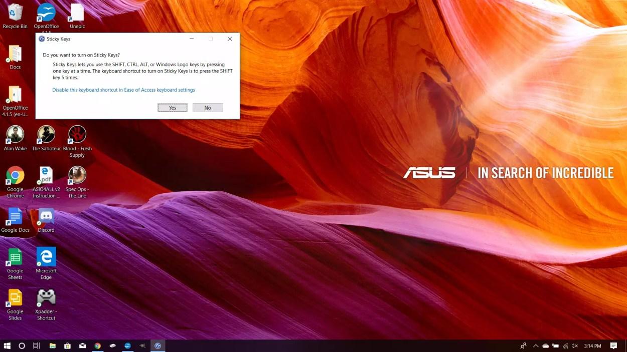Peringatan Sticky Keys di Windows 10