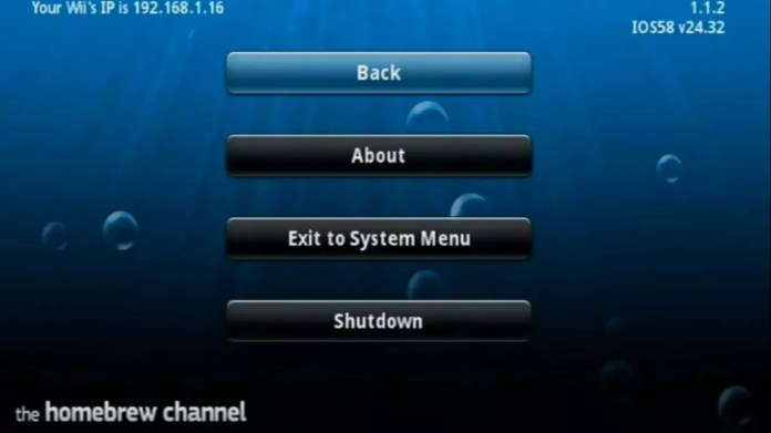 After the Homebrew Channel launches, select Home on the Wii remote, then select Shutdown.
