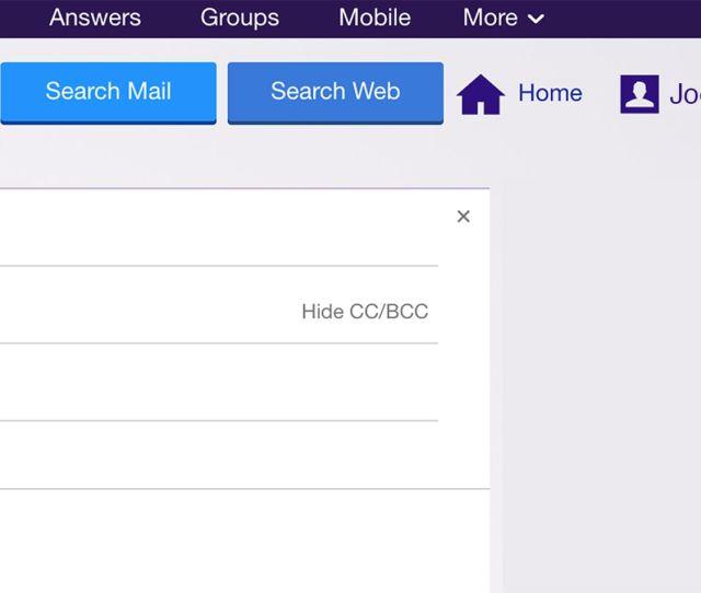 Screenshot Of Yahoo Mail Screen Upper Right Corner