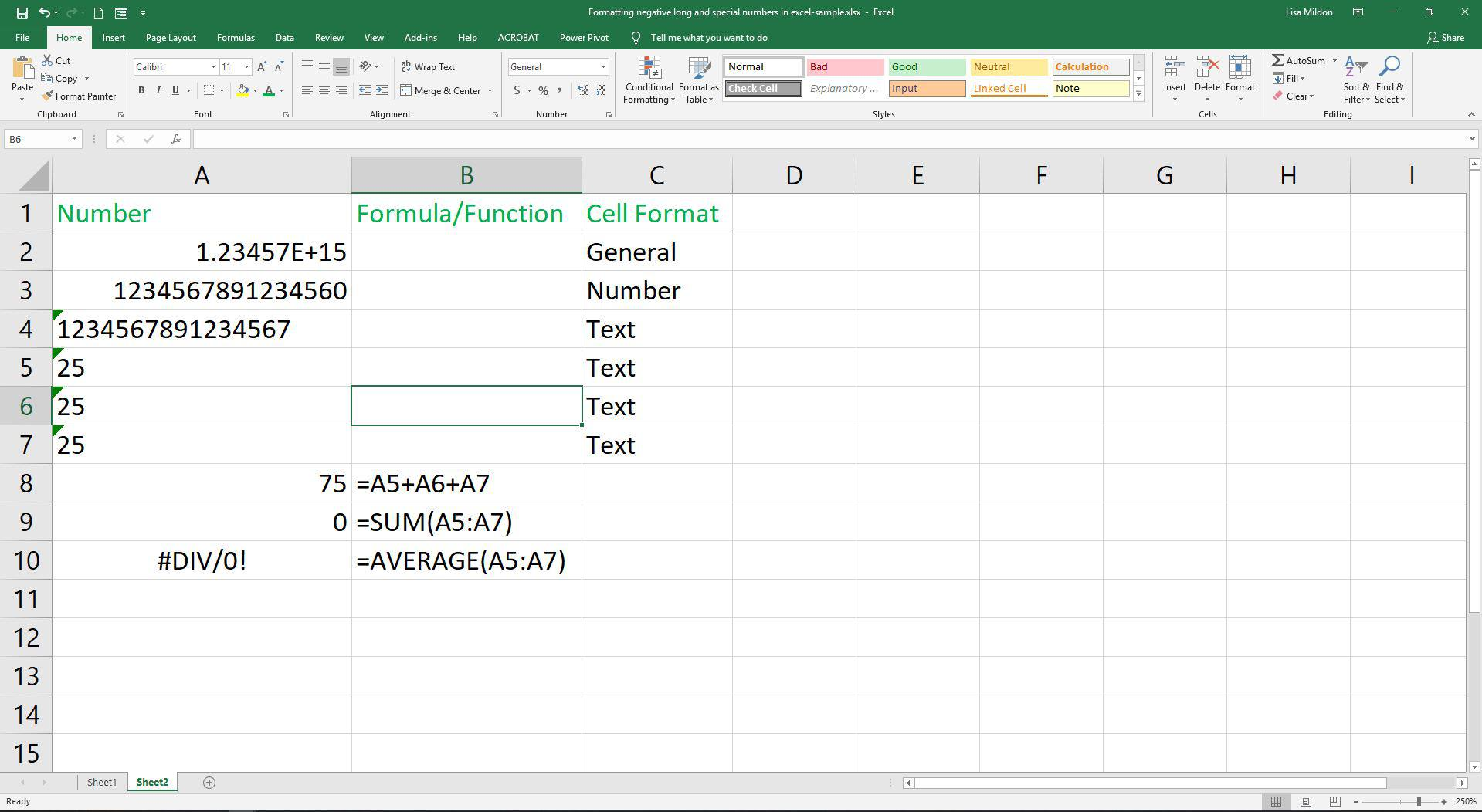 Formatting Negative Long And Special Numbers In Excel