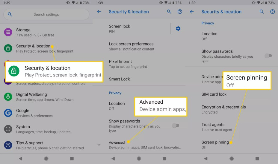Security & location, Advanced, and Screen pinning links in Android settings
