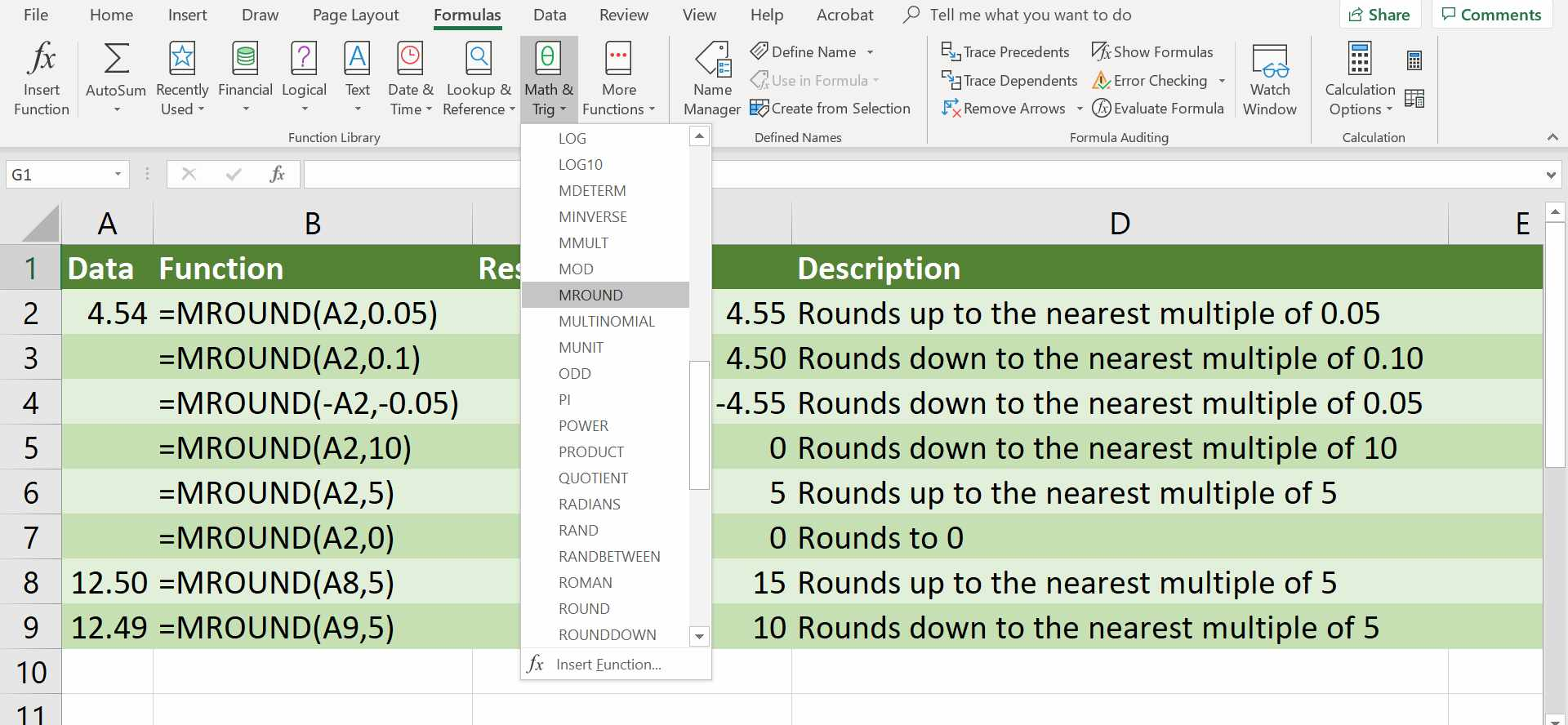 How To Use Excel S Mround Function