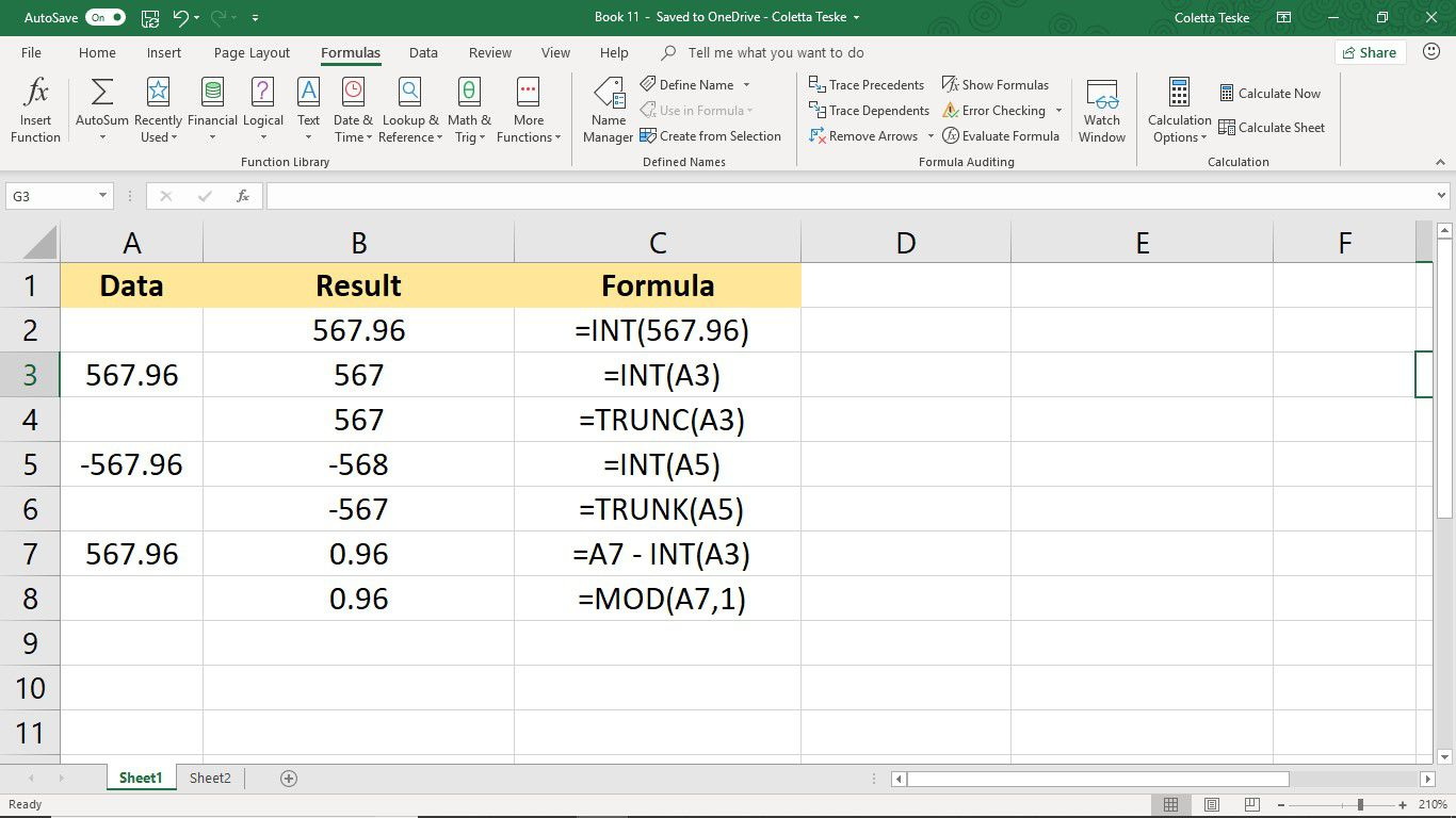Round Down To The Nearest Integer In Excel With The Int