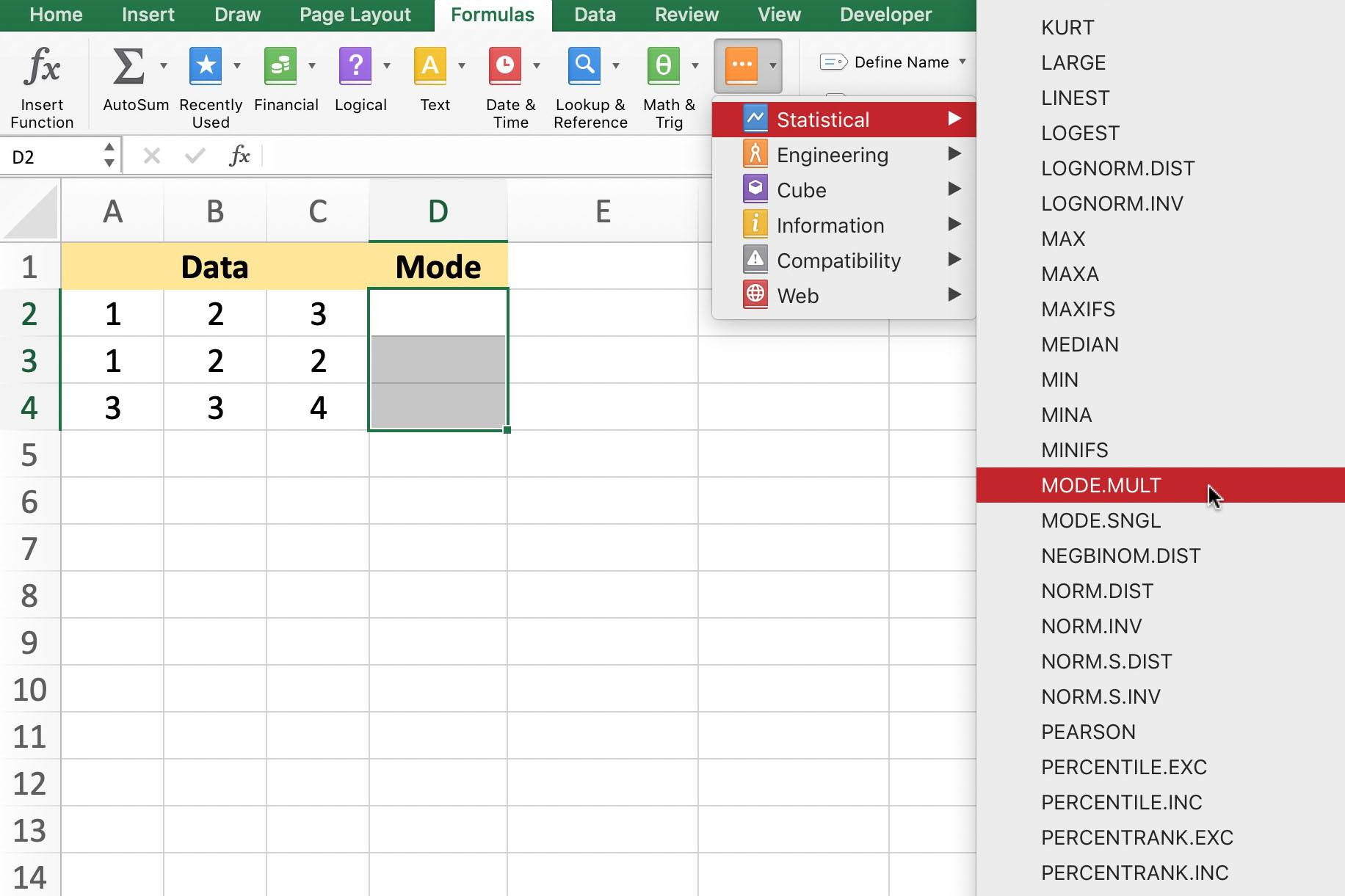 Multiple Modes In Data With Excel Mode Lt Function