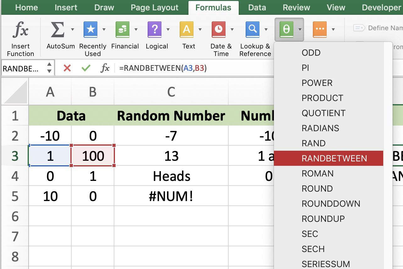Randbetween To Create Random Number Generator In Excel
