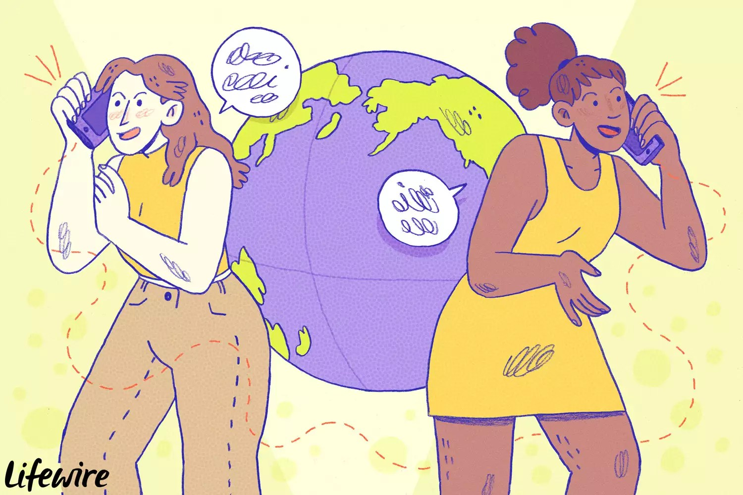 An illustration of women talking on the phone on opposite sides of the globe.