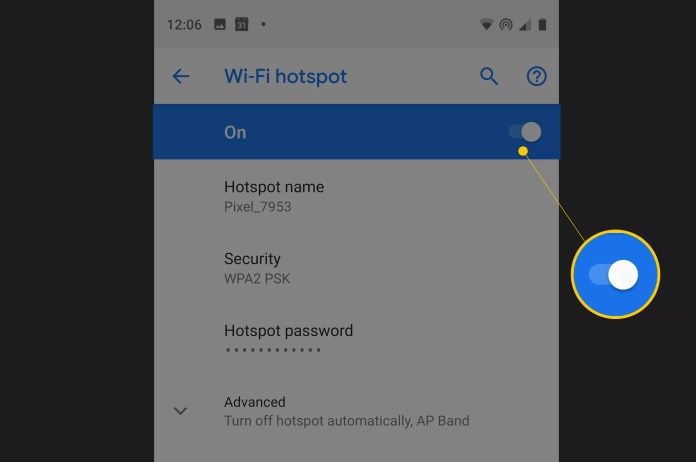 Wi-Fi hotspot toggle ON for Pixel