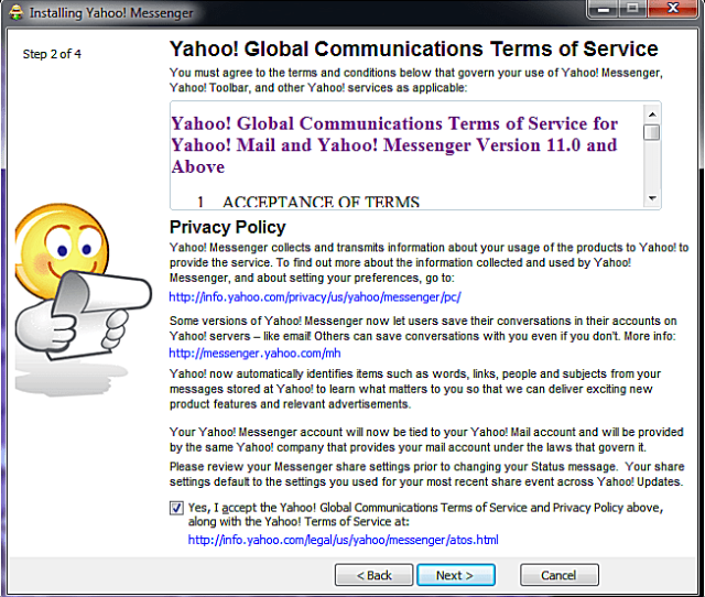 Accept The Yahoo Tos Terms Of Service