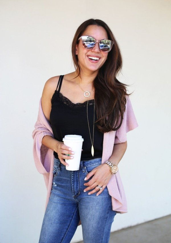 why everyone needs a great lace cami + cardigan outfit. It's a foolproof outfit formula! See why