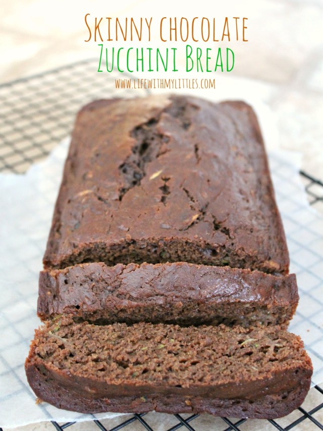 Skinny Chocolate Zucchini Bread Recipe: Healthy, delicious, moist, and with 2 whole zucchinis! Honestly, it tastes more like cake!