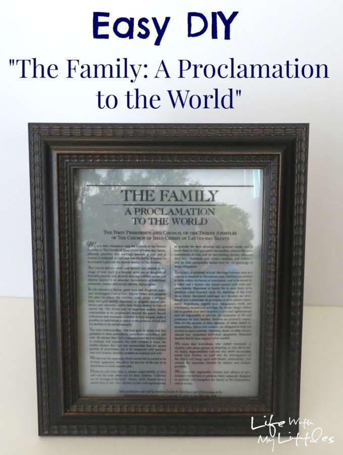 Easy DIY Family Proclamation Picture