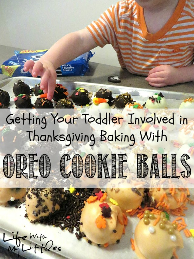 Here's an easy way to get your toddler involved in Thanksgiving baking by decorating OREO Cookie Balls!