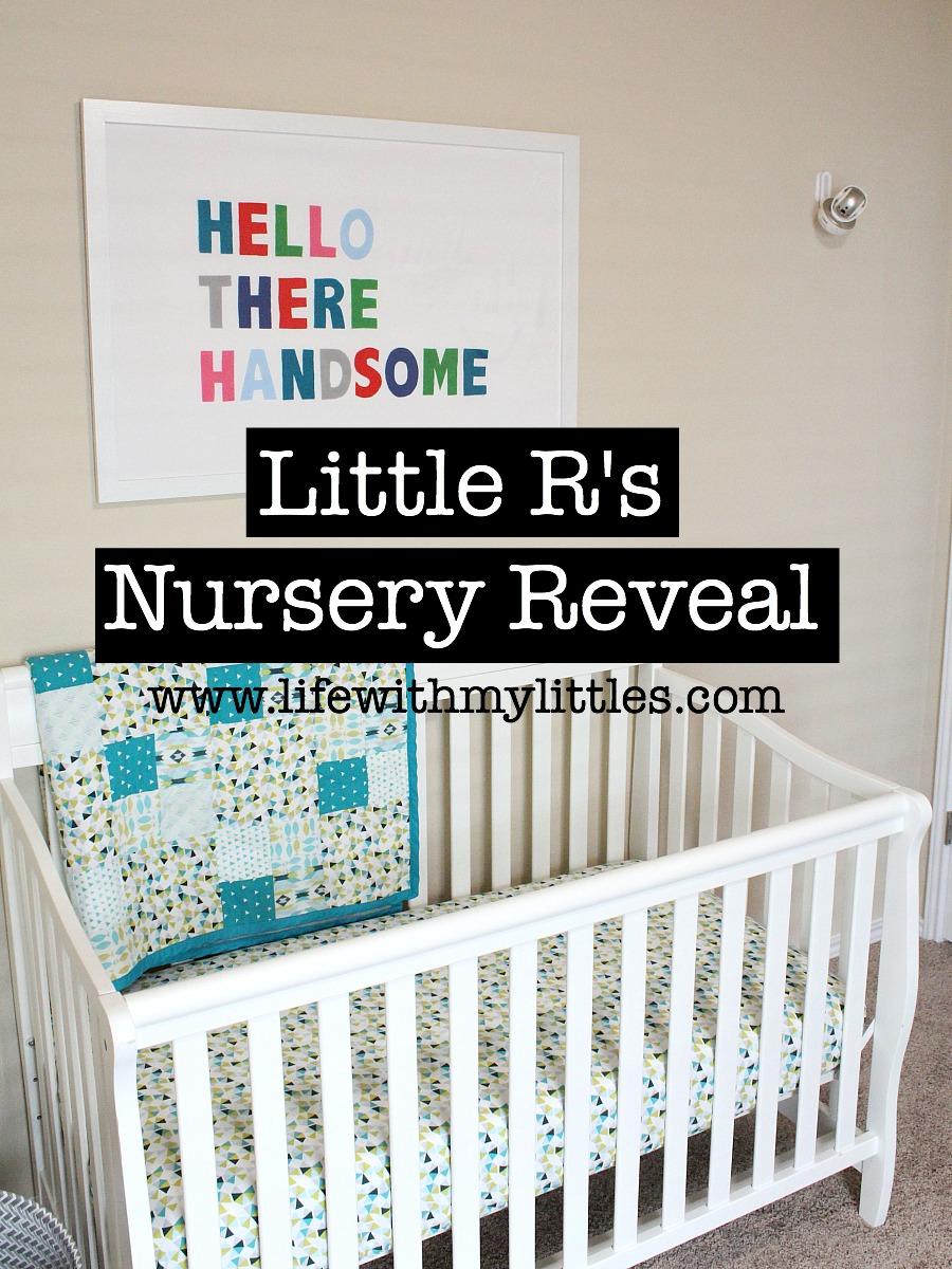 Baby boy's nursery reveal! An adorable, minimalist nursery with bright colors, felt balls, and DIY felted words.