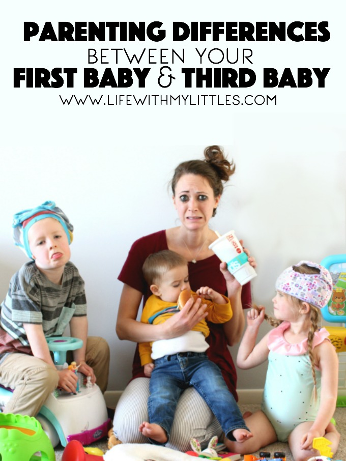 Between your first and third baby, your parenting style changes and relaxes a little bit. Here's a funny look at some of the many parenting differences between your first baby and third baby.