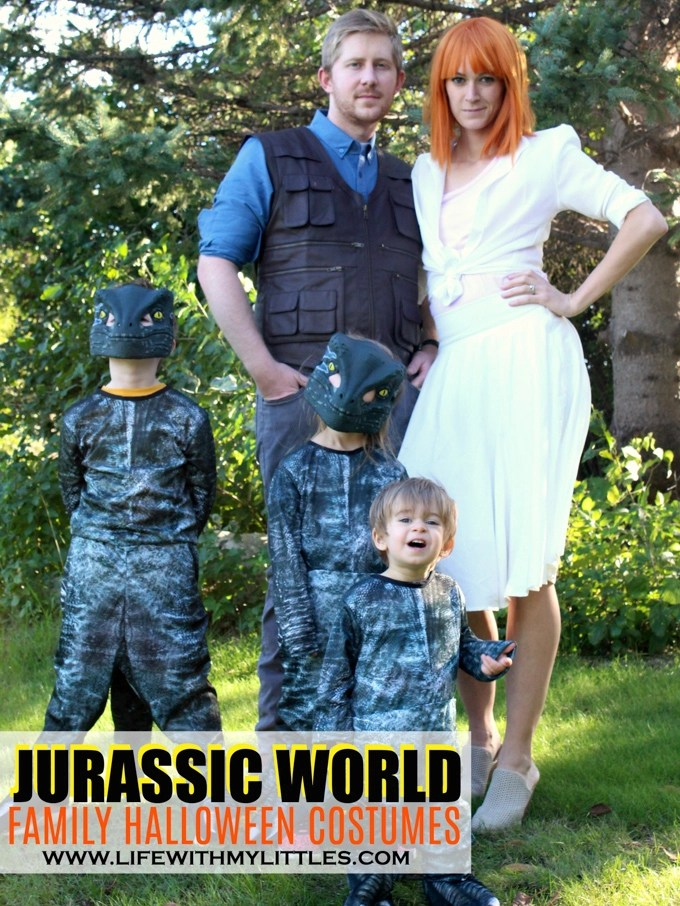 These Jurassic World family Halloween costumes are amazing! Owen, Claire, and the raptor pack! Such a fun idea, and it includes links to where she bought everything! If you're looking for Jurassic World costumes for your family, this is such a great resource!