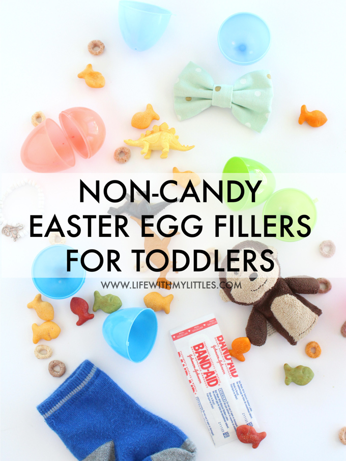 Looking for non-candy ideas to fill your toddler's Easter eggs? Here's a helpful list of more than 15 non-candy Easter egg fillers for toddlers!