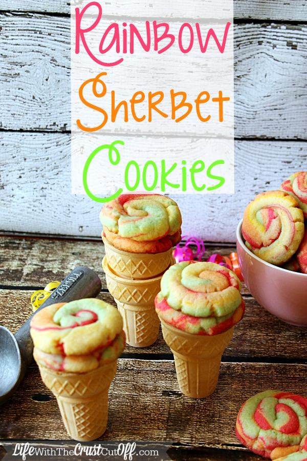 Rainbow Sherbet Cookies in Cones