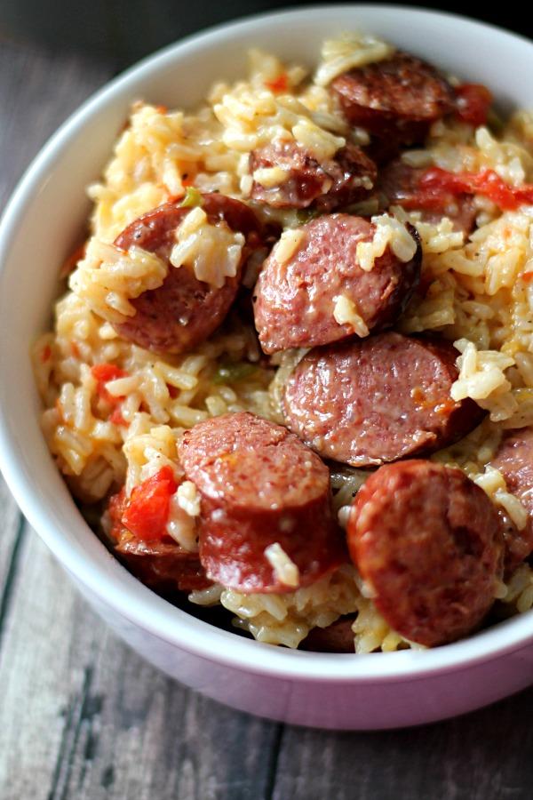 Cheesy Sausage Rice Skillet