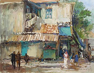 Ng Woon Lam, Singapore Artist Oil Painting, McKenzie Road