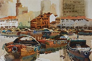 Singapore River Old Boat Quay, Watercolor Painting