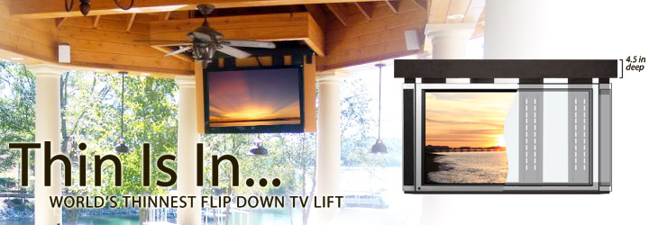 lift it flip down ceiling tv lifts for lcd and plasma televisions